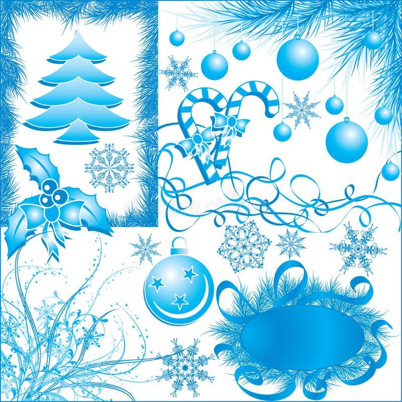 Invierno, elementos de la Navidad para el diseño con los copos de nieve, vecto ilustración del vector