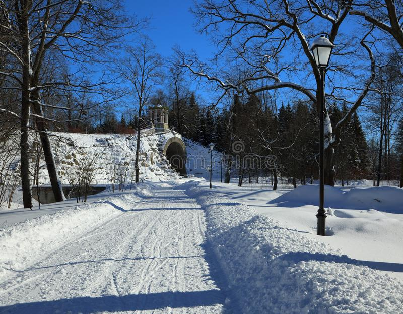 Invierno en Alexander Park de Pushkin imagenes de archivo