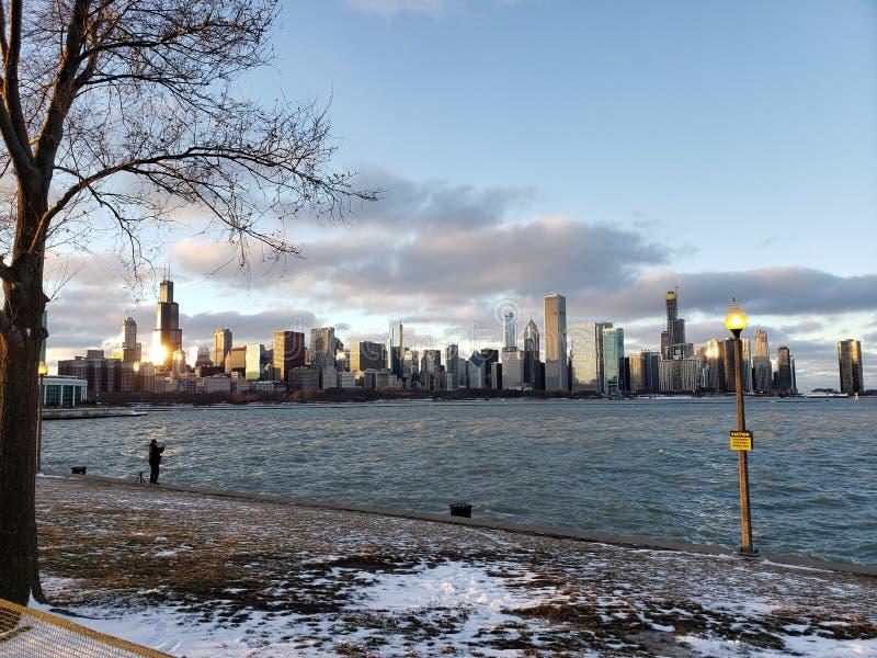 Invierno en Chicago fotografía de archivo libre de regalías