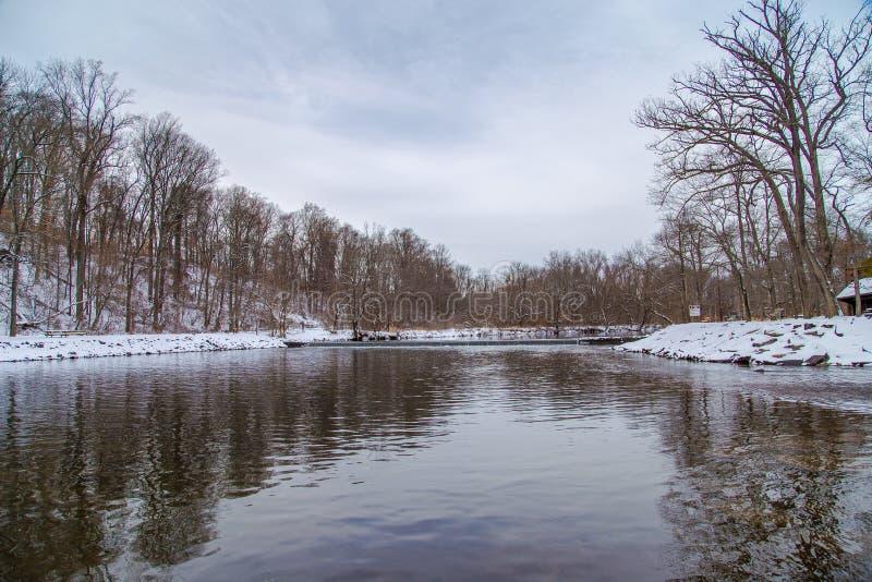 Invierno en el condado de Bucks en el río Delaware fotografía de archivo libre de regalías