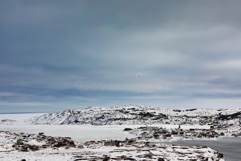 Invierno en el pueblo pesquero Fogo NL Canadá del outport imagen de archivo libre de regalías