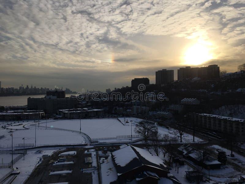 Invierno en el río Hudson imagen de archivo