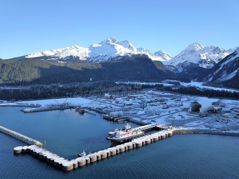 Invierno en la industria marítima de Alaska fotografía de archivo