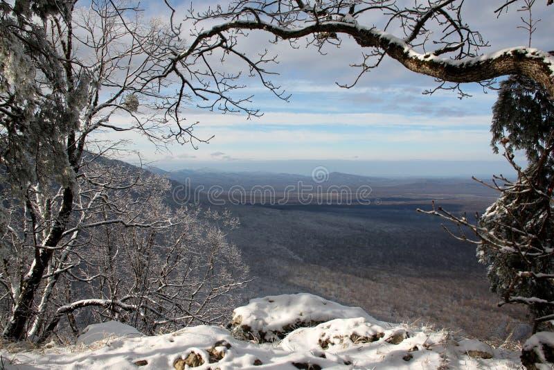 Invierno en las montañas rusas fotos de archivo