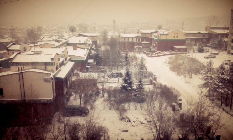 Invierno en mi sity precioso Irkutsk radugniy imagen de archivo
