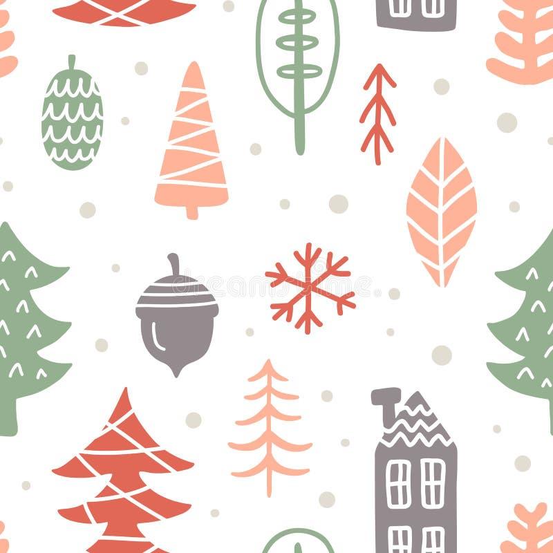 Invierno escandinavo La Navidad garabatea el modelo inconsútil stock de ilustración