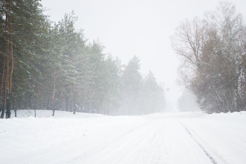 Invierno escarchado y de la nieve de la estación en el camino en el país fotografía de archivo libre de regalías