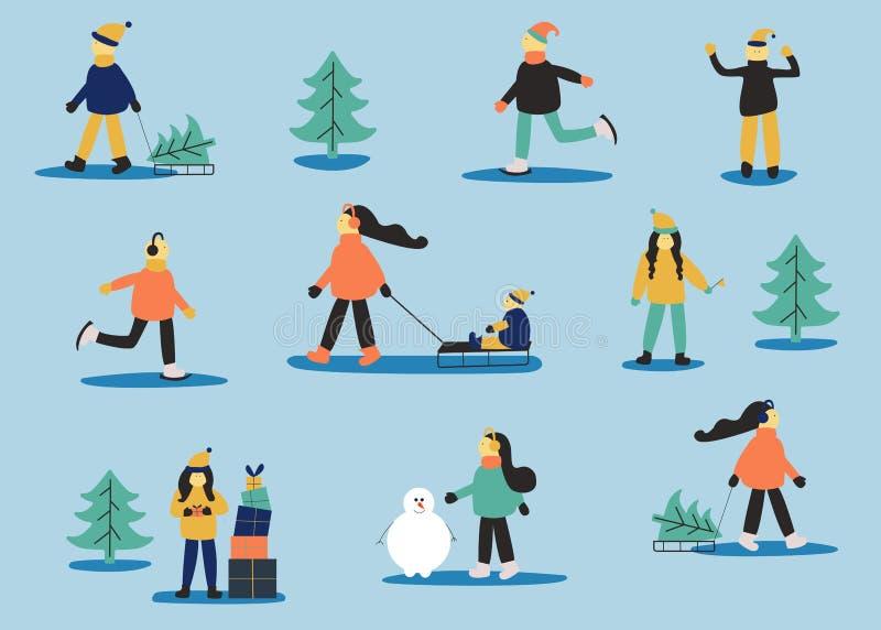 Invierno fijado con la gente: hombre patinador, mujeres con el trineo, mujeres con el regalo, hombres en suéter, mujeres con el n libre illustration