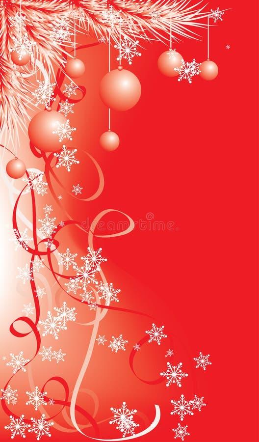 Invierno, fondo rojo con los copos de nieve, vector de la Navidad stock de ilustración