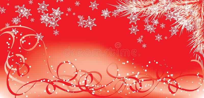 Invierno, fondo rojo con los copos de nieve, vector de la Navidad ilustración del vector