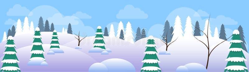Invierno Forest Landscape Christmas Background, bosque de los árboles de la nieve del pino stock de ilustración