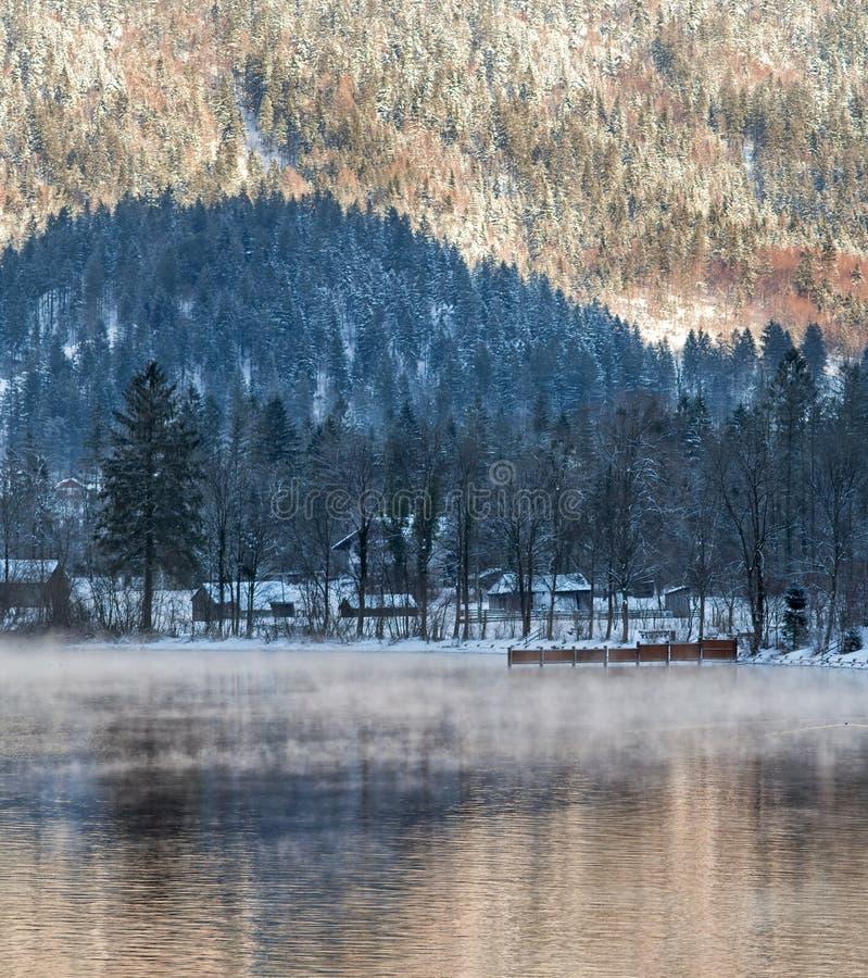 Invierno frío y nevoso en la montaña Austria fotografía de archivo