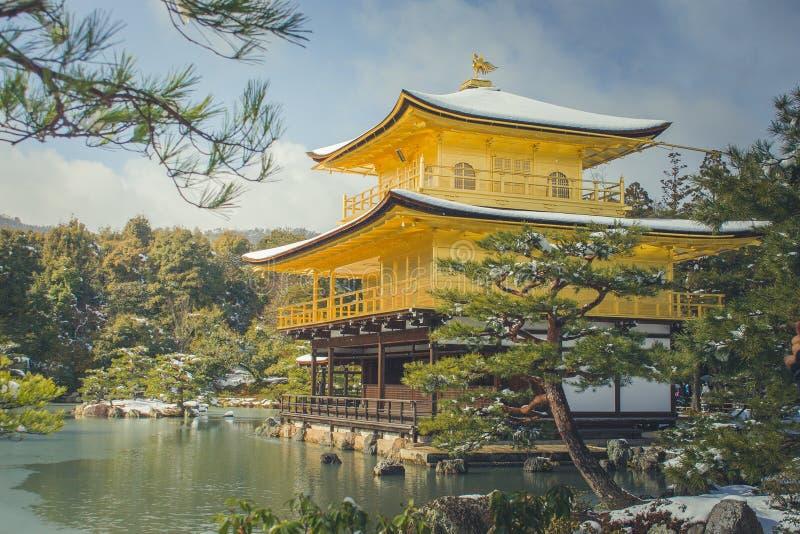 Invierno hermoso estacional del pabellón de oro del templo de Kinkakuji con caer blanca de la nieve y del fondo del cielo azul en imágenes de archivo libres de regalías