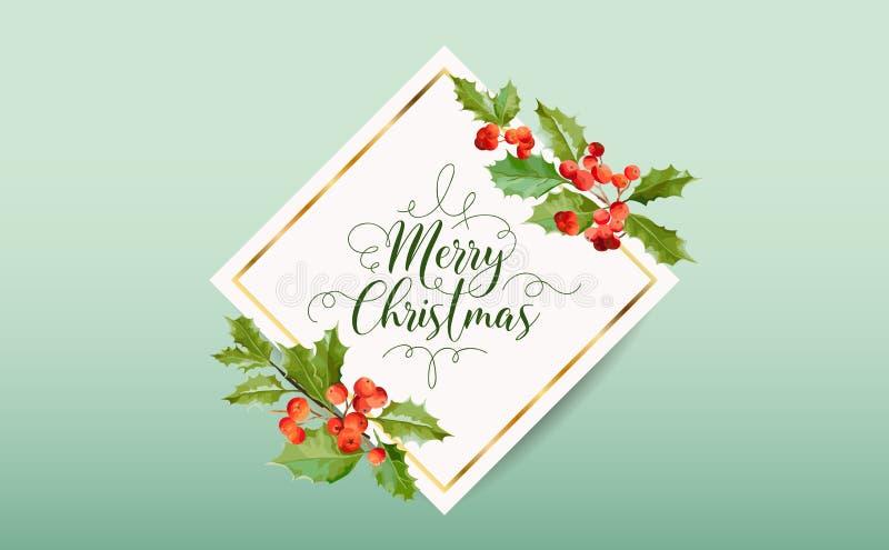 Invierno Holly Berry Banner de la Navidad, fondo gráfico, invitación de diciembre, aviador o tarjeta ilustración del vector