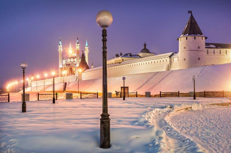 Invierno Kazán el Kremlin imagenes de archivo