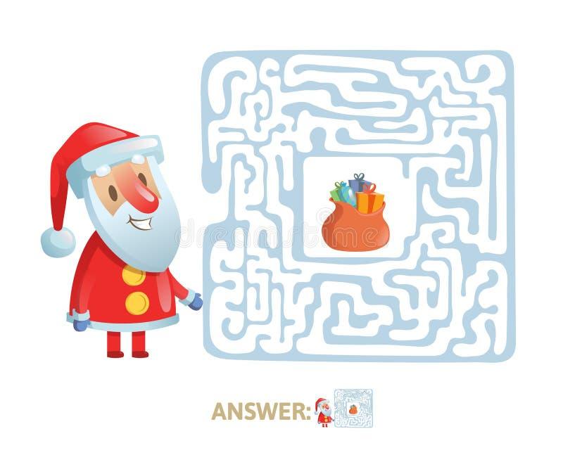 Invierno Maze Game Laberinto con el carácter y la respuesta divertidos de Papá Noel Ejemplo plano del vector Aislado en blanco libre illustration