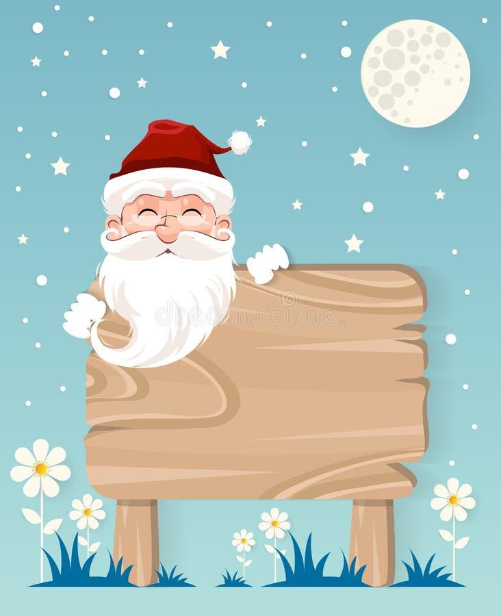 Invierno muy feliz, Papá Noel y con la muestra de madera stock de ilustración