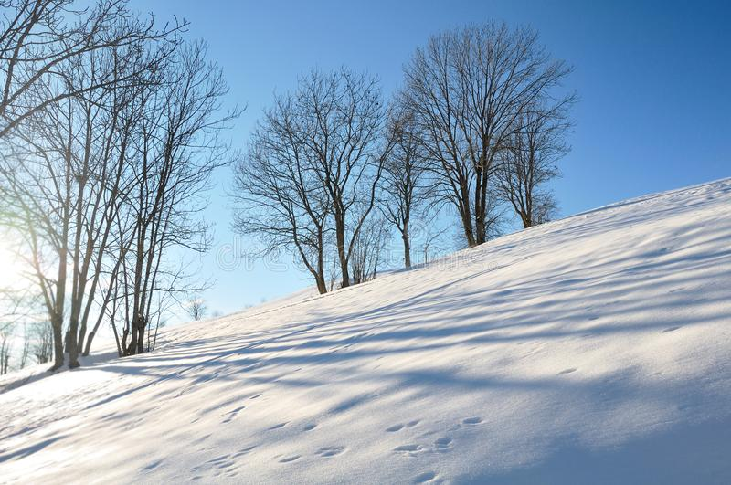 Invierno, paisaje en montaña fotos de archivo