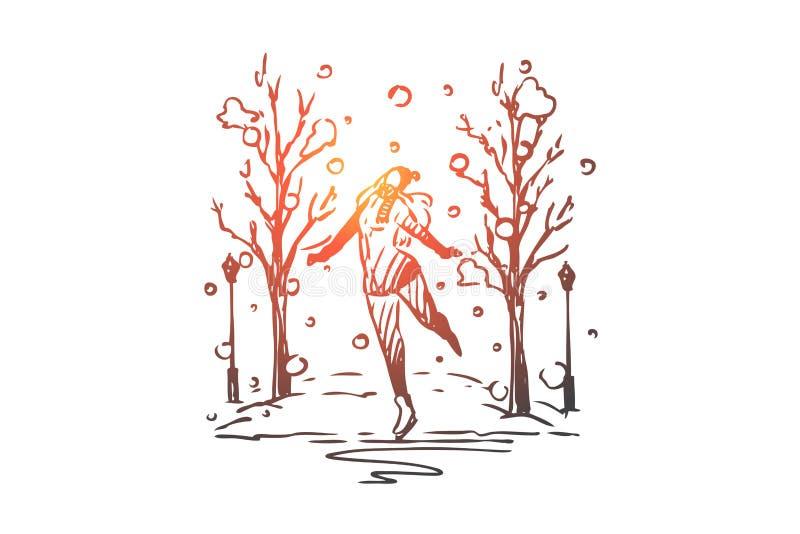 Invierno, parque, mujeres, patinando, hielo, concepto activo Vector aislado dibujado mano libre illustration