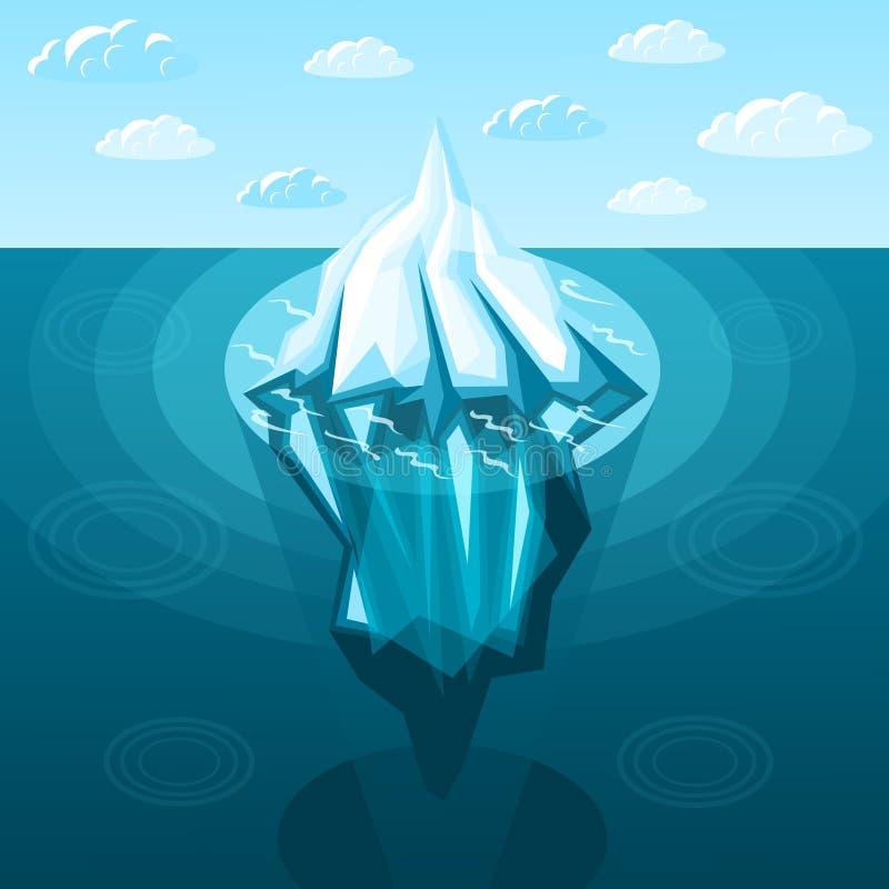 Invierno que ajardina el fondo isométrico del iceberg ilustración del vector
