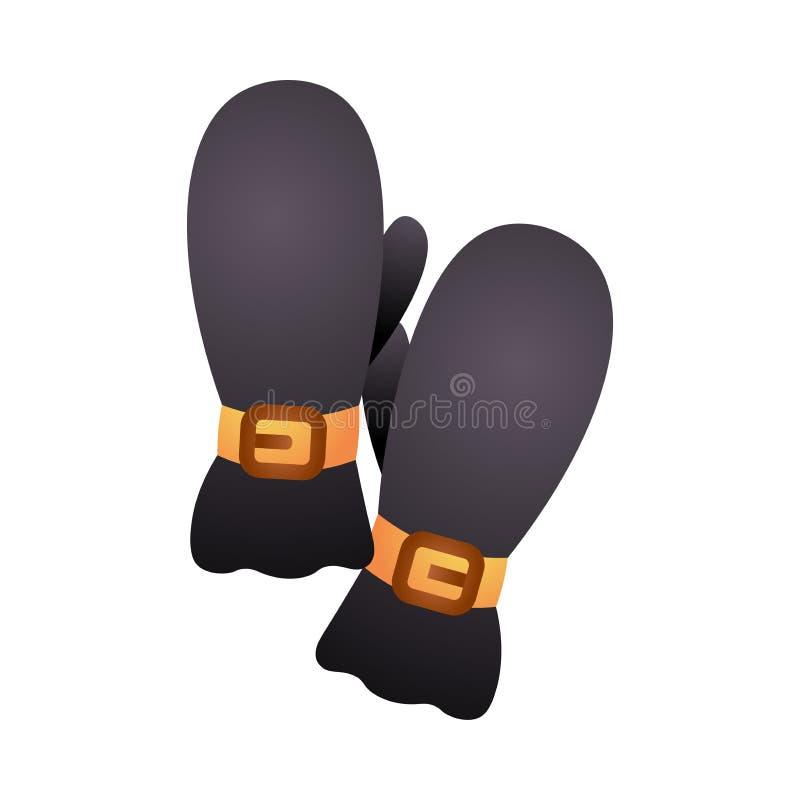Invierno que camina negro natural del material de algodón de los guantes libre illustration