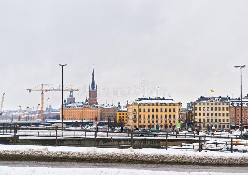 Invierno Riddarholmen en Gamla Stan de Estocolmo foto de archivo
