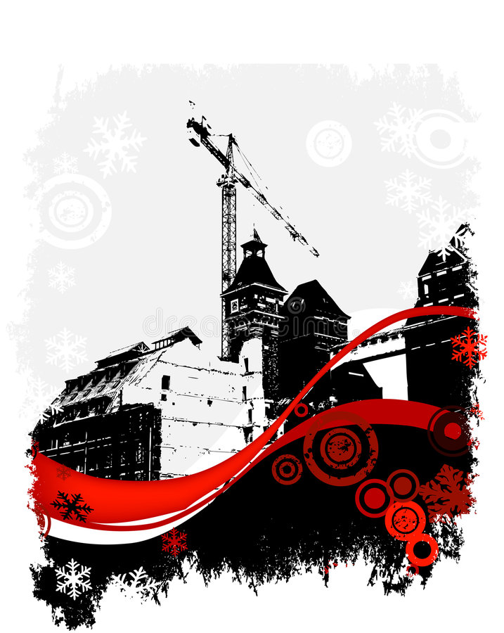 Invierno, sitio industrial ilustración del vector