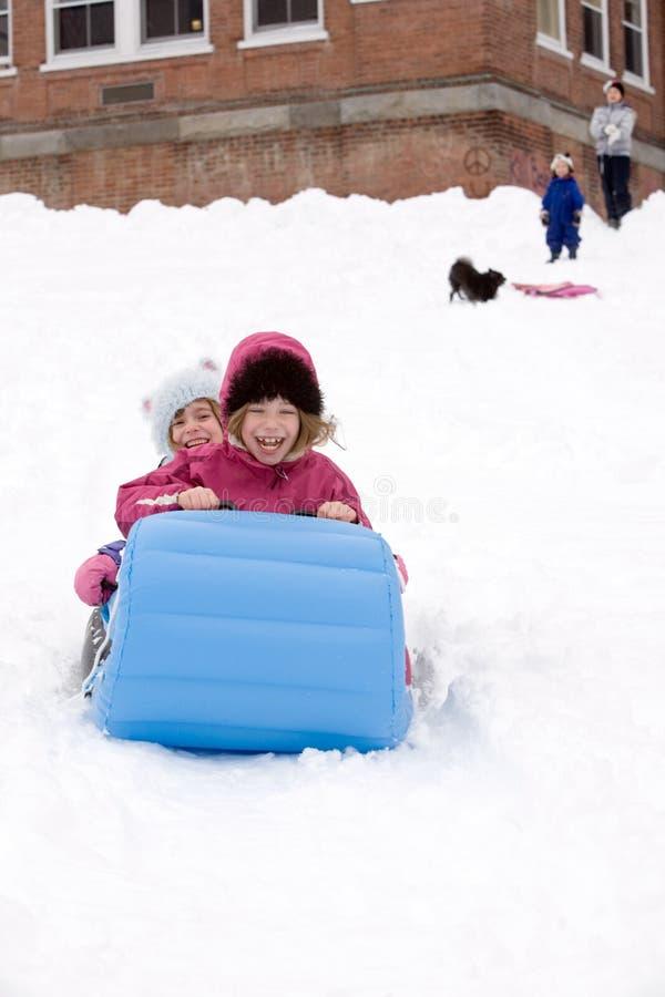 Invierno Sledding foto de archivo