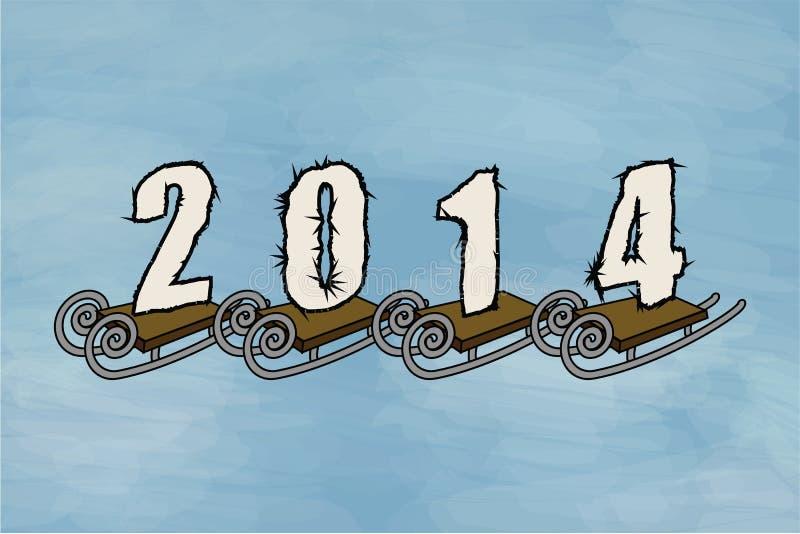 Invierno 2014, trineo stock de ilustración