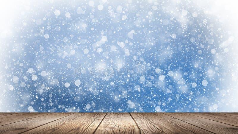 Invierno vacío, fondo de la nieve, tabla de madera, escena vacía del paisaje del invierno Copos de nieve abstractos, nieve ilustración del vector