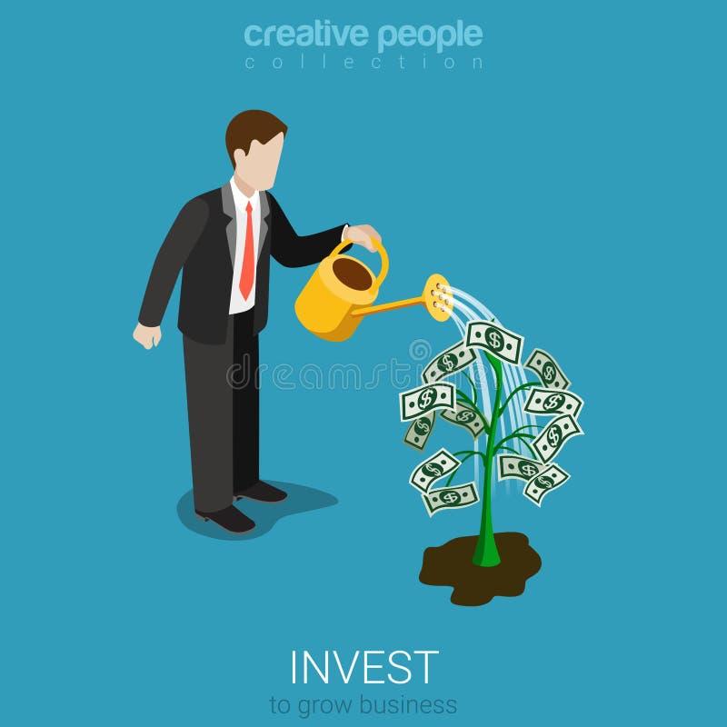 Invierta el vector isométrico plano del árbol del dólar de inversión del hombre de negocios libre illustration