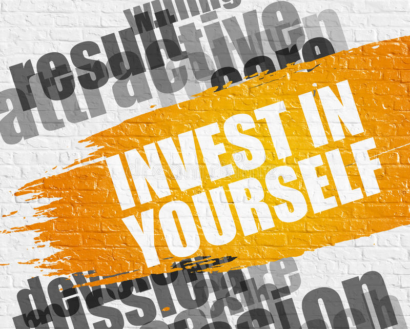 Invierta en sí mismo en Brickwall blanco ilustración del vector