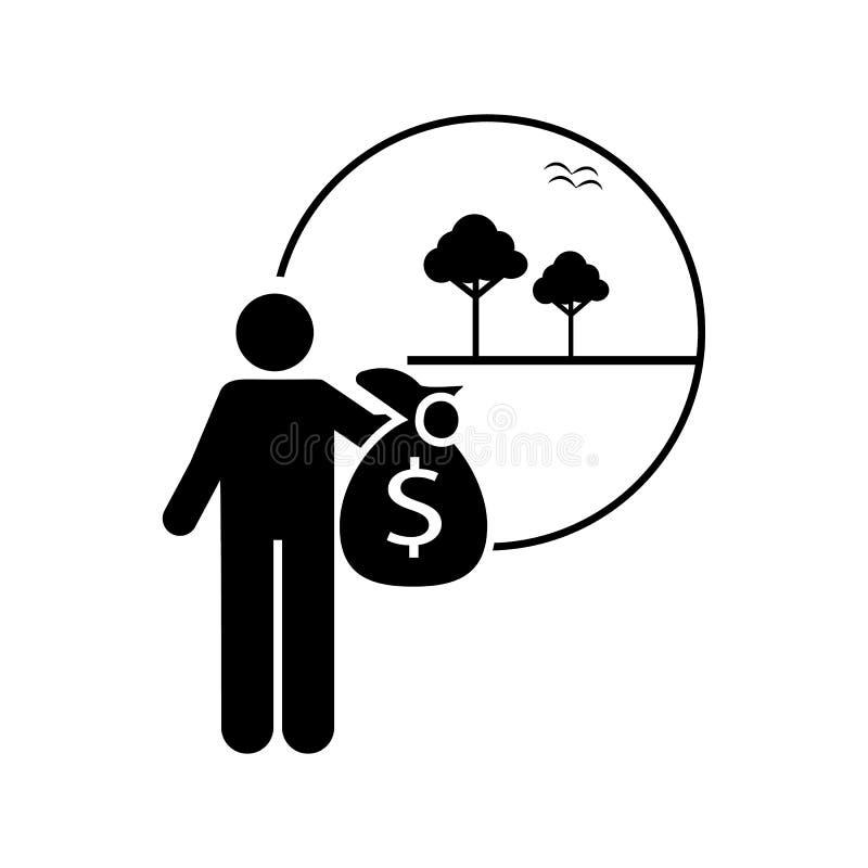 Invierta, tierra, icono de las propiedades inmobiliarias Elemento del icono del hombre del inversor Icono superior del dise?o gr? libre illustration