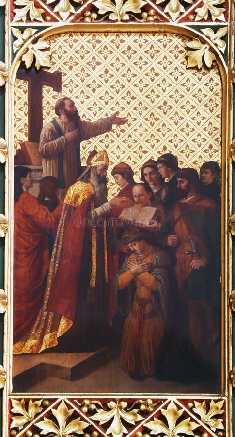 Invigning av den första biskopen av Zagreb arkivbilder