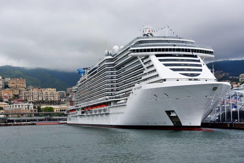 invigningen och lanseringen av MSC Seaview är ett kryssningskepp royaltyfria bilder