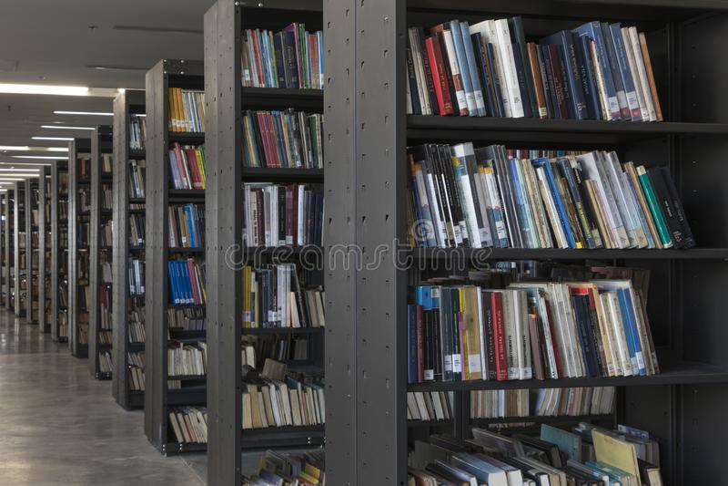 Invigningsdag December 2018 för piloto för pública för offentligt bibliotekmedellin biblioteca royaltyfri fotografi