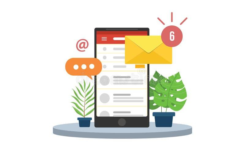 Invii con la posta elettronica le notifiche mobili con le icone della busta e dello smartphone ed il segno della posta in arrivo  illustrazione di stock