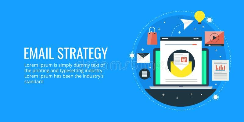 Invii con la posta elettronica la strategia di pubblicità - concetto dell'introduzione sul mercato digitale moderna Insegna piana illustrazione di stock