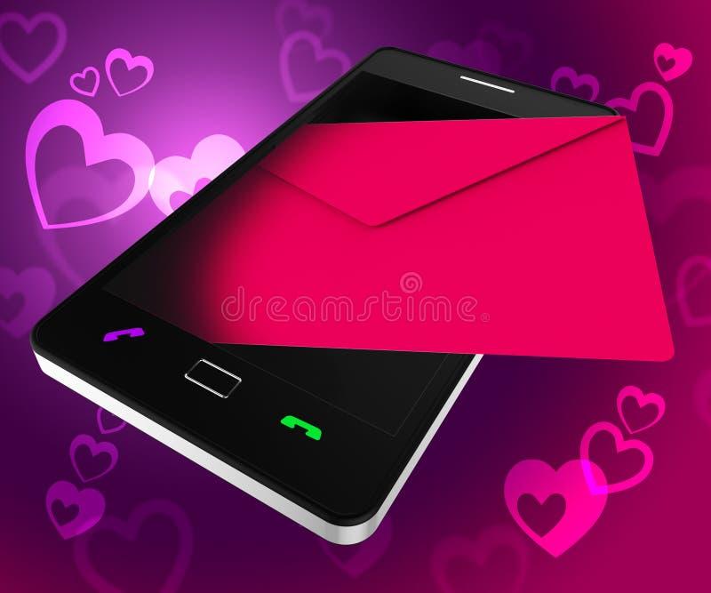 Invii il cellulare e Smartphone di devozione di manifestazioni del telefono di amore illustrazione di stock