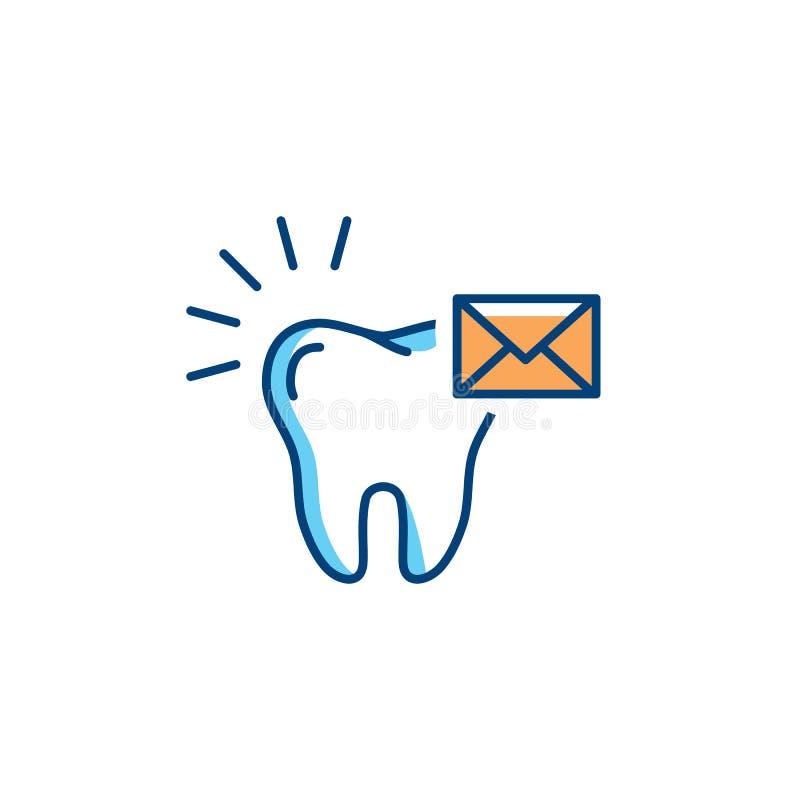 Invii l'icona del dentista del messaggio, logo di cure odontoiatriche Linea icone della busta e del dente Illustrazione di vettor royalty illustrazione gratis