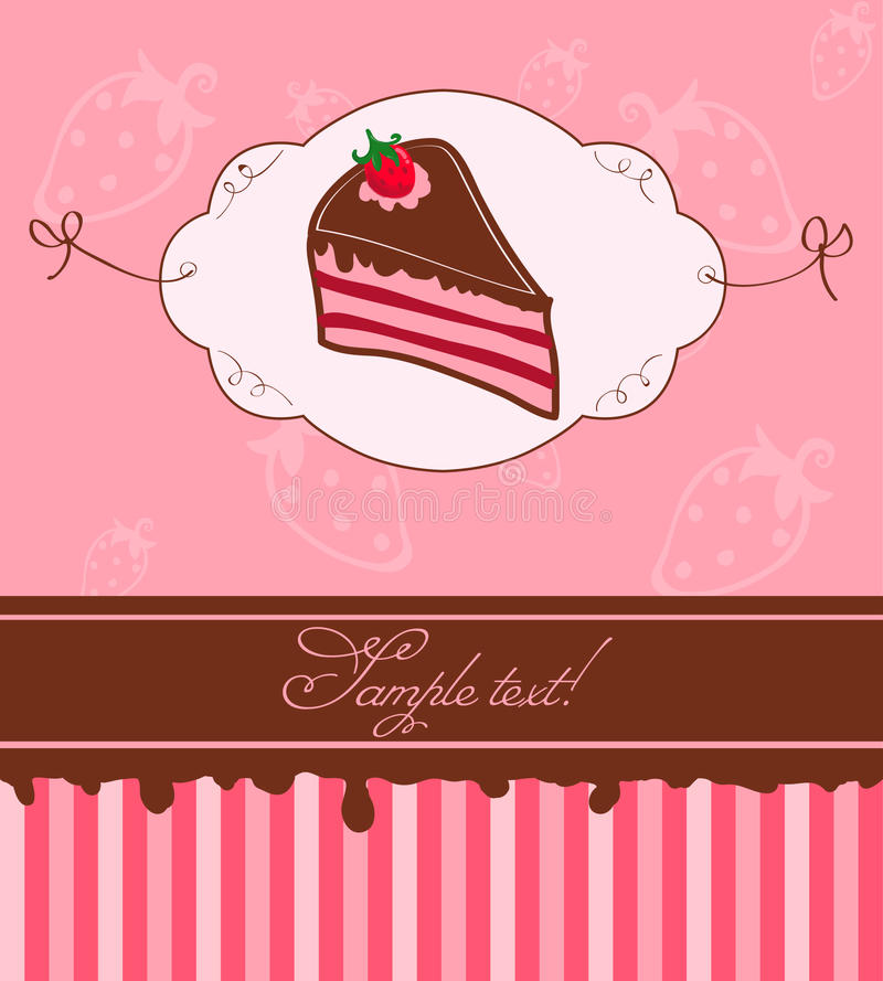 Download Invintation With Strawberry Cake Stock Vector - Image: 16592034