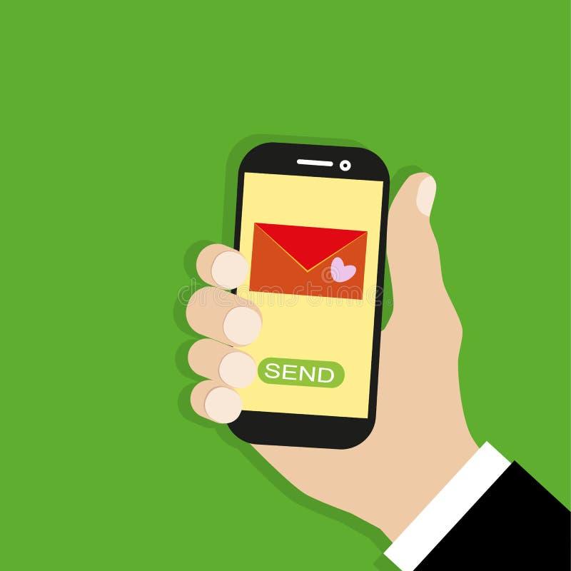 Invio del messaggio di amore Chiacchierata mobile Passi il telefono della tenuta con la busta, invii il bottone e la notifica, em illustrazione di stock