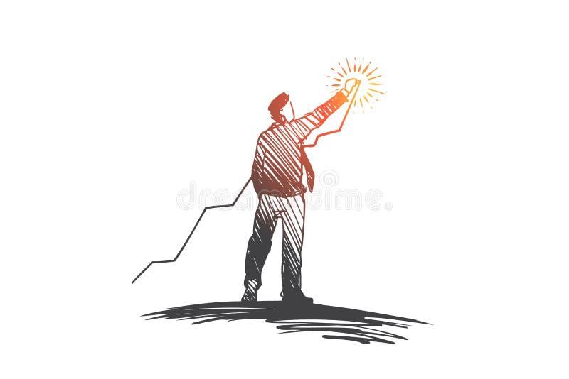 Invirtiendo, crecimiento, beneficio, concepto del éxito Vector aislado dibujado mano libre illustration
