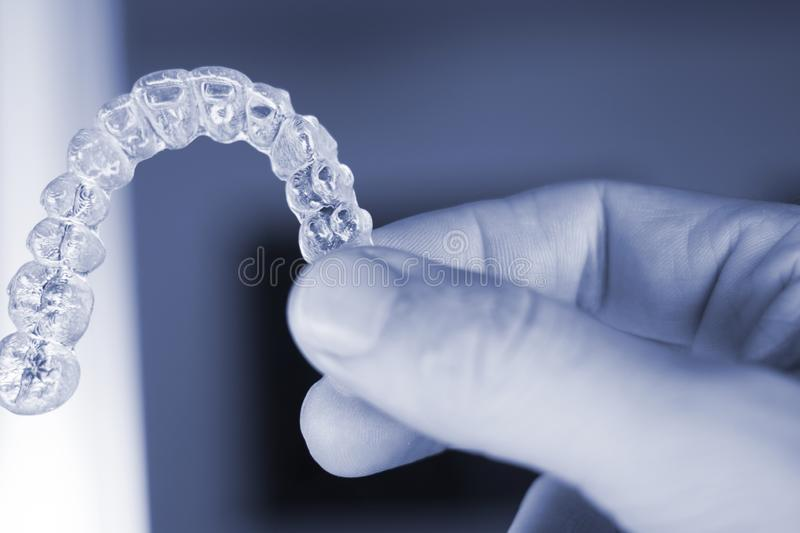 Invisible dental teeth aligners stock photos