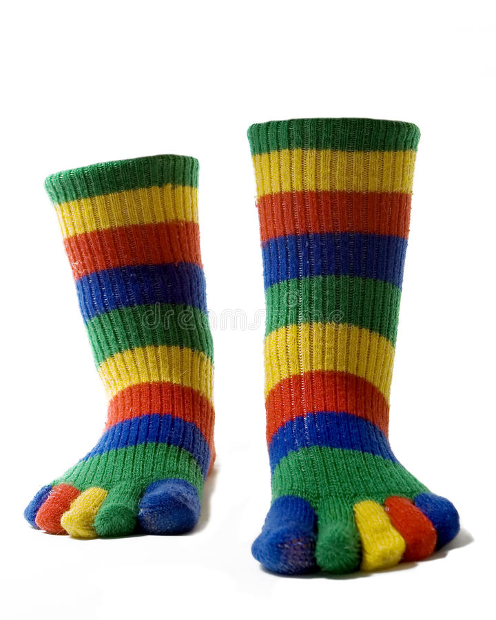 Invisible Legs. In colorful toe socks royalty free stock photography