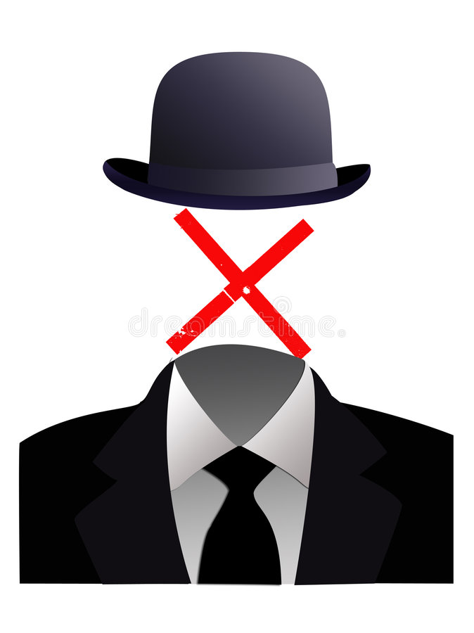 Invisible man concept. An illustration of a faceless man in a business suit with a red cross vector illustration