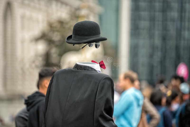 Invisible man in town street royalty free stock photos