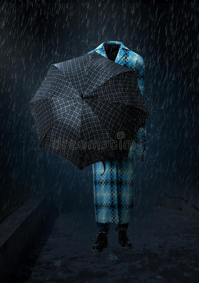 Invisible man goes in the heavy rain royalty free stock photo