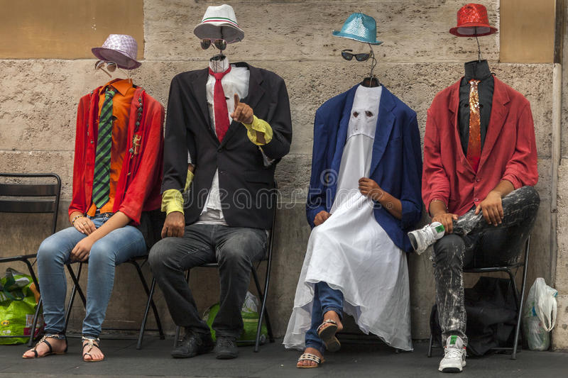 Invisible Men street performers stock images