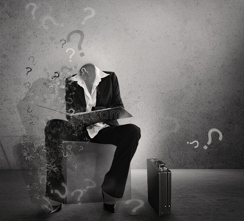 Hesitation poster. Invisible student. stock photo